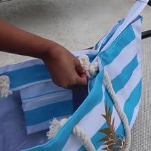 beach bag with zipper