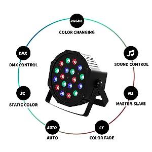 Flashandfocus.com b5f54857-de17-4518-ad42-89ff8110c197.__CR0,0,1600,1600_PT0_SX300_V1___ SUNCOO 4/8/12 Packs 18 LEDs Par Light DMX Uplights LED Stage Lighting RGB Lighting 7 Modes DMX Lighting Controlled Sound…