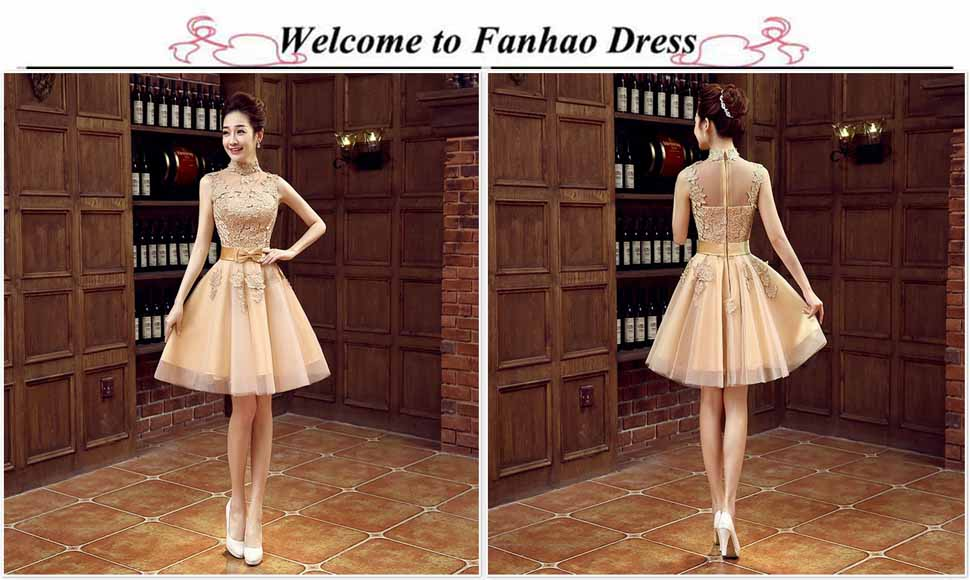 aa6c434592988 Fanhao Women's High Neck Floral Lace Short Evening Gown Bridesmaid ...