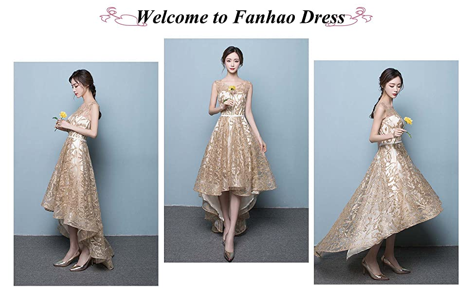 Fanhao Women\'s Gold Gild Sashes Long Tail Short Evening Gown ...