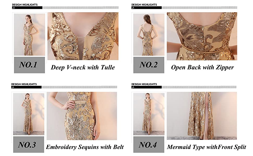 0386ab0250 Fanhao Women s V Neck Golden Sequins with Belt Mermaid Split Long ...
