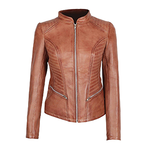 Brown Shearling Leather Jacket Women Genuine Lambskin Chocolate