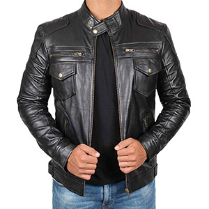Cafe Racer Mens Leather Jacket - Black Real Lambskin