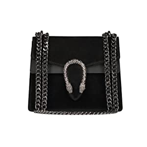 4ada69dd8e1a leather bag, leather purse, chain bag, chain purse, black suede purse,