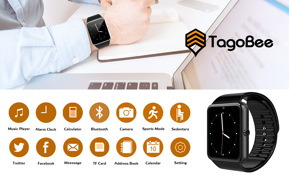 TagoBee TB04 Smart Watch, Bluetooth Smartwatch with Camera SIM SD Memory Card Slot Touch Screen Wirst Watch Compatible for Android Phones iPhone ...