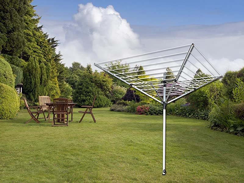 Jusdreen Umbrella Clothesline Drying Rack Aluminum Alloy Foldable Four Arm  Clothes Drying Airer