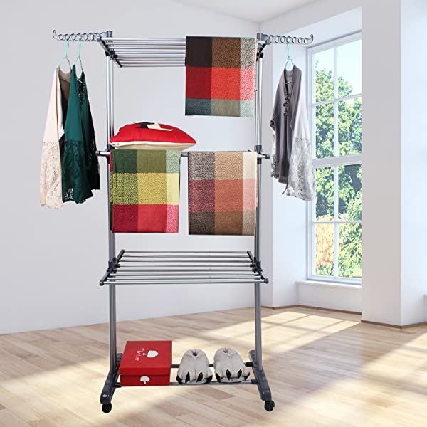 Amazoncom Jusdreen 3 Tier Rolling Clothes Drying Rack Clothes