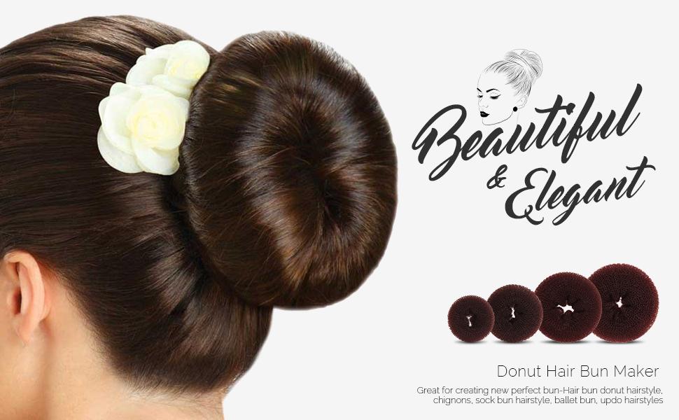 Donut Hair Bun Maker 7 Pieces Teenitor Ring Style Bun Maker Set With Hair Bun Makers 1 Extra Large 2 Large 2 Medium And 2 Small 5 Pieces Hair
