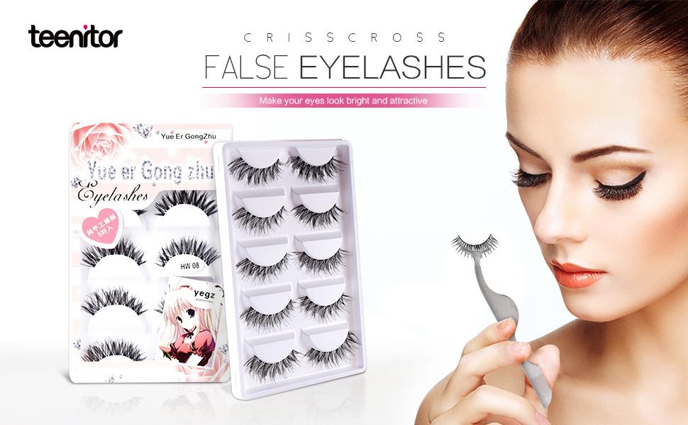 Amazon Teenitor 10 Pair Crisscross False Eyelashes Lashes