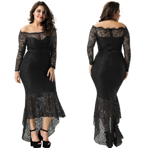611457539 Amazon.com: ohyeah Women Solid Formal Lace Maxi Dress Long Sleeve ...