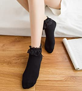 WEILAI Womens 4 Pack Vintage Ruffle Frilly Cute Lace Ankle Top Dress Socks