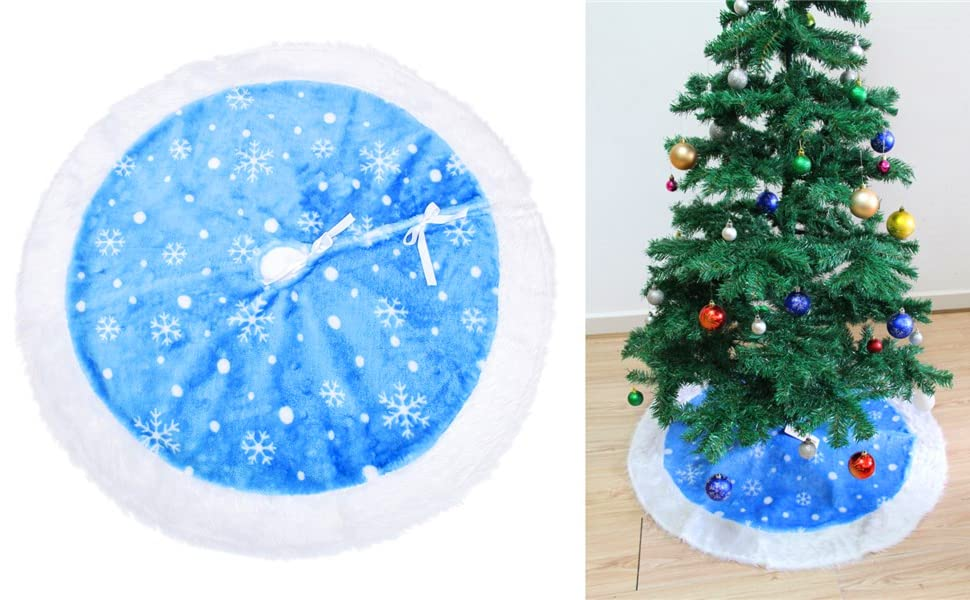 snowflake christmas tree skirt blue velvet christmas tree skirts white christmas tree skirt - Blue And White Christmas Decorations