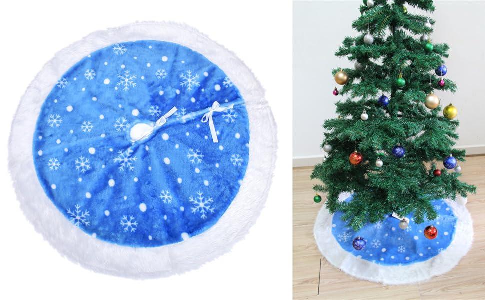 Elegant Christmas Tree Skirts.Mrxlwhome Christmas Tree Skirts Blue 48inches Blue White Tree Skirts Holiday Christmas Decorations Large Skirts Blue White 48 Inches
