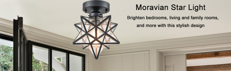 Amazon.com: AXILAND Moravian Star Light Flush Mount Ceiling ...