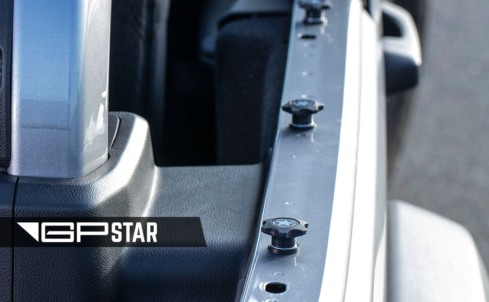Upgraded 3M Star Badges. GP-Star Quick Release Thumbscrew Set for Jeep Wrangler
