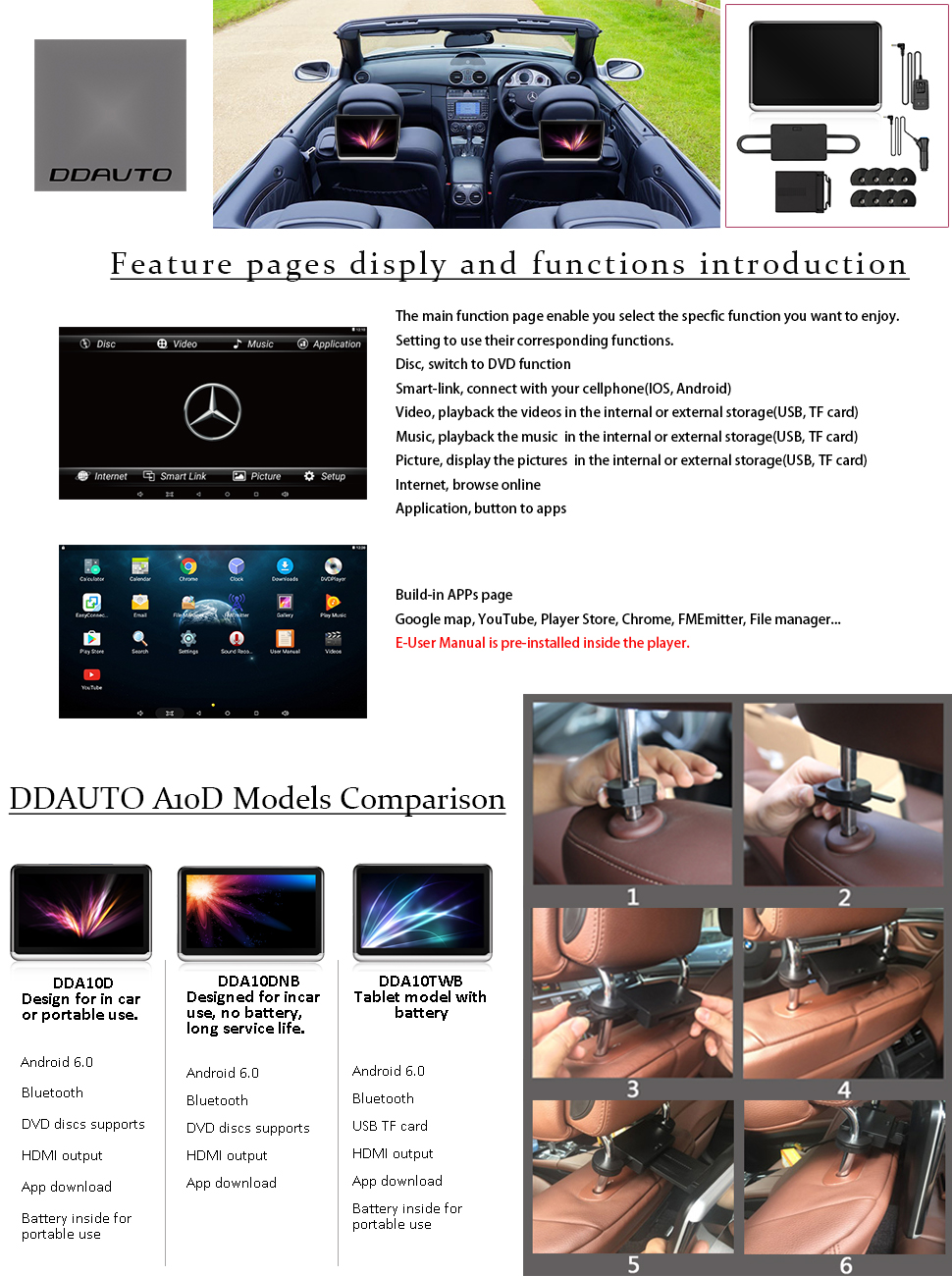 Amazon.com: DDAUTO DDA10D Tablet Android 6.0 Portable DVD Player ...