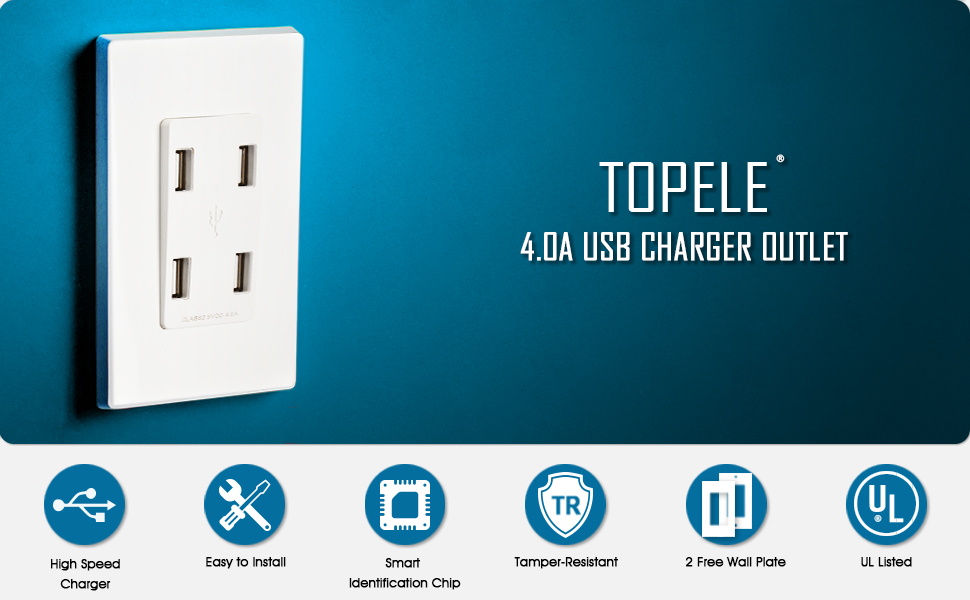 TOPELE 4.0A High Speed USB Wall Outlet, 4 USB Ports Charger Wall ...