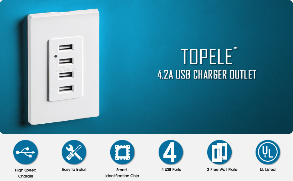 TOPELE LD-U002 USB Wall Outlet, 4 USB Port Charger Wall Outlet, High ...
