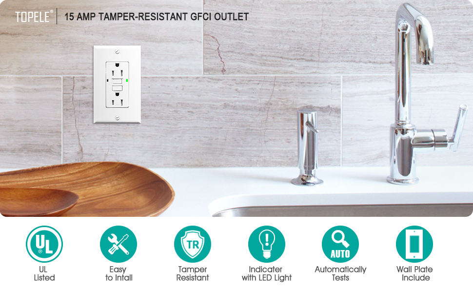 TOPELE 15A GFCI Outlet 125 Volt Tamper-Resistant Receptacle ...