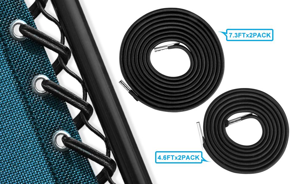 Keten Elastic Cord for Zero Gravity Reclining Garden Sun Lounger Chairs Black