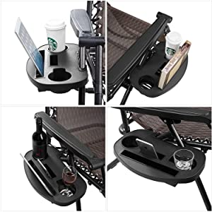 VOCOMO Universal Oval Cup Holder for Zero Gravity Chair Utility Tray Clip On Chair Table with Mobile Device Slot and Snack Tray-Black Medium, 2 Pack