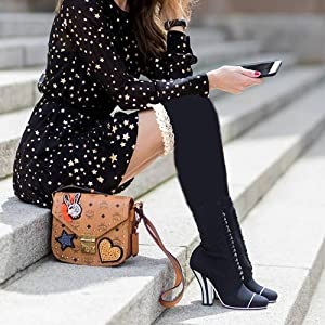 fc8a43b59f7 Ordenado Women s Thigh High Socks Valentine s Winter Cable Knit Lace ...