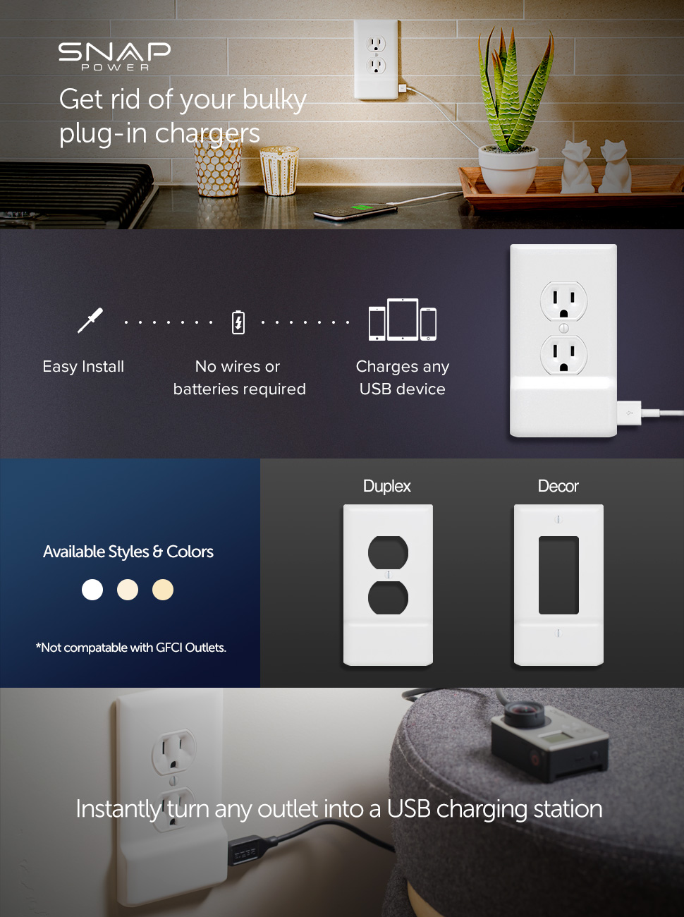 Snappower Usb Charger Outlet Wall Plate Cover No Wiring Outlets And Switches Product Description