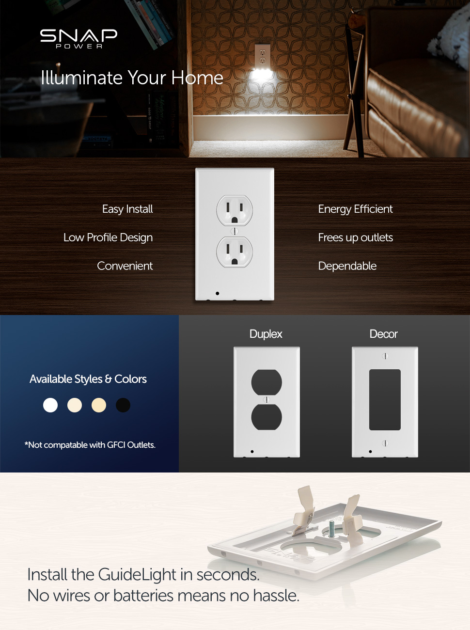 Snappower Guidelight Outlet Wall Plate With Led Night Lights No Wiring An Two Switches Product Description