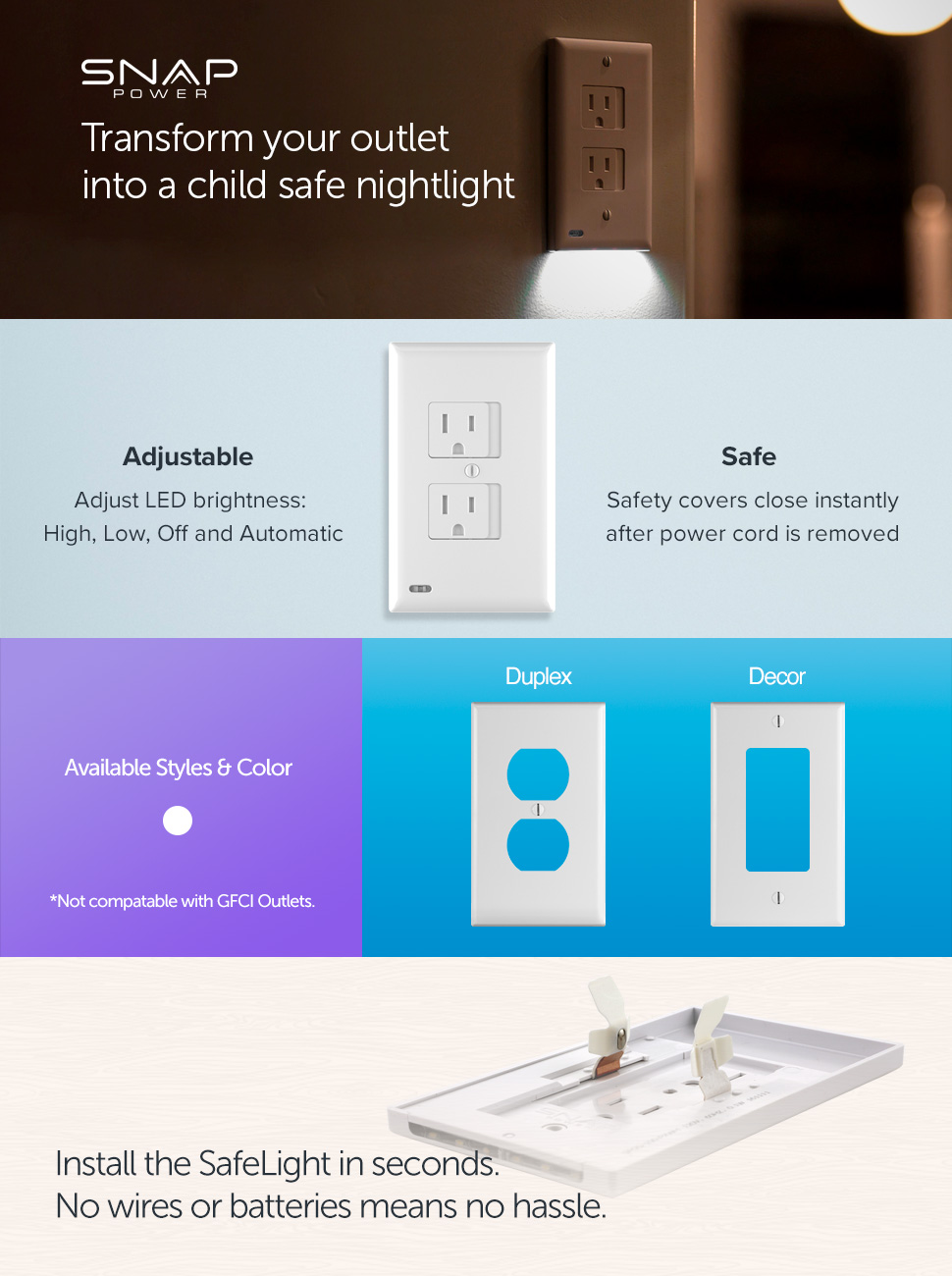 Amazon.com: SnapPower SafeLight - Child And Baby Safety Power Outlet ...