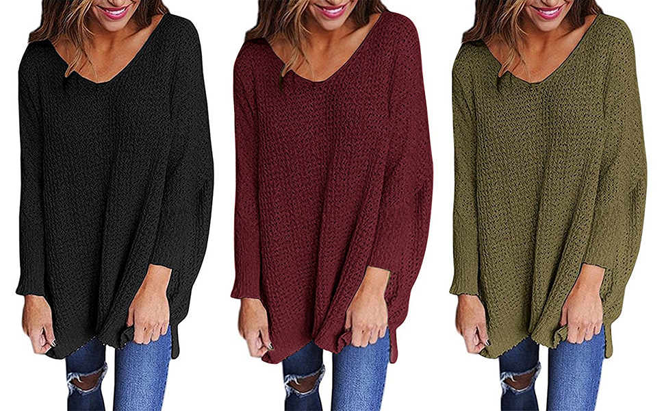 Knitting A Sweater Neckline : Chuanqi women oversized knitted sweater long sleeve v neck loose top
