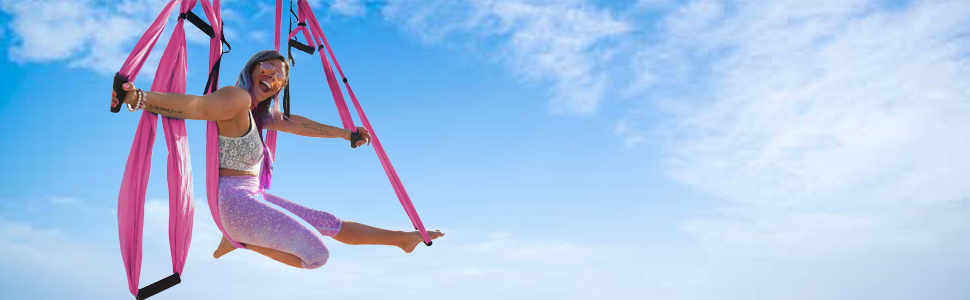 aerial silks yoga swing inversion sling aerial yoga hammock pink 6 handles carabiners daisy chain