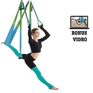 aerial silk yoga hammock set inversion workout bonus video instruction studio quality