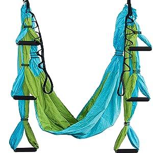 blue orange vibrant parachute non stretchy yoga swing sensory play inversion therapy sling hammock