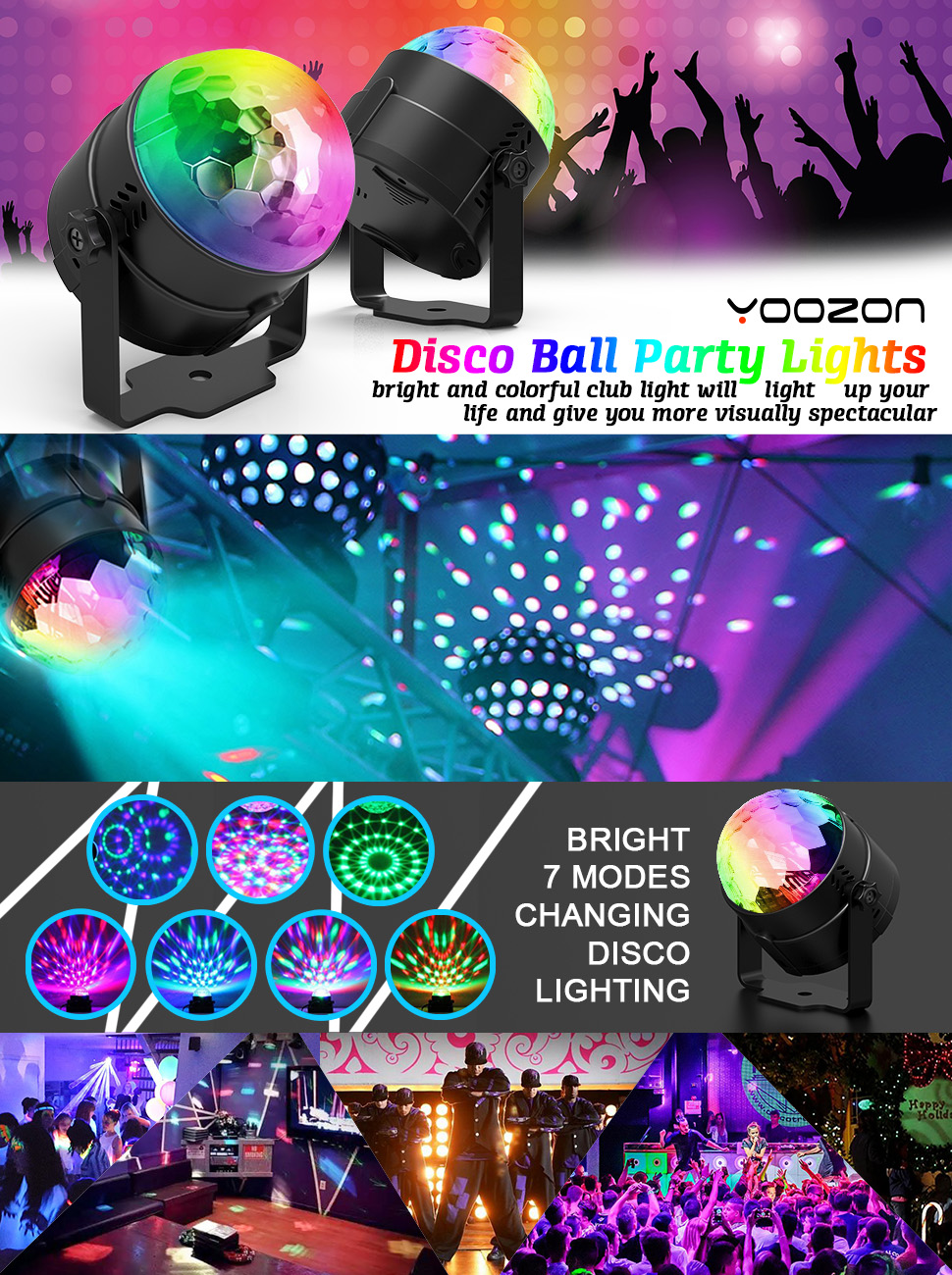 amazon com 2 pack yoozon party lights sound activated disco