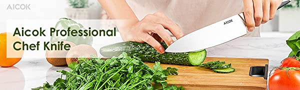 Chef Kitchen Knife, Professional 8 Inch Chefs Knife, High Carbon Stainless Steel Ultra Sharp Cutlery Knife with Ergonomic Handle, by Aicok