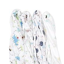 Viviland Mantas Envolventes de Muselina de Bamb/ú Algod/ón,Swaddle Paquete de 4 Mantitas para Bebes Reci/én Nacidos,120x120 cm