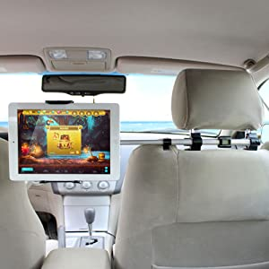 tablet mount holder ikross universal tablet car backseat headrest extendable mount. Black Bedroom Furniture Sets. Home Design Ideas