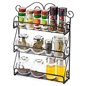 The EZOWare Black Wall Mountable 3 Tier Rack An Essential Item To Keep  Smaller Kitchen, Home, And Health Storage Jars, Bottles, And Canisters  Organized And ...