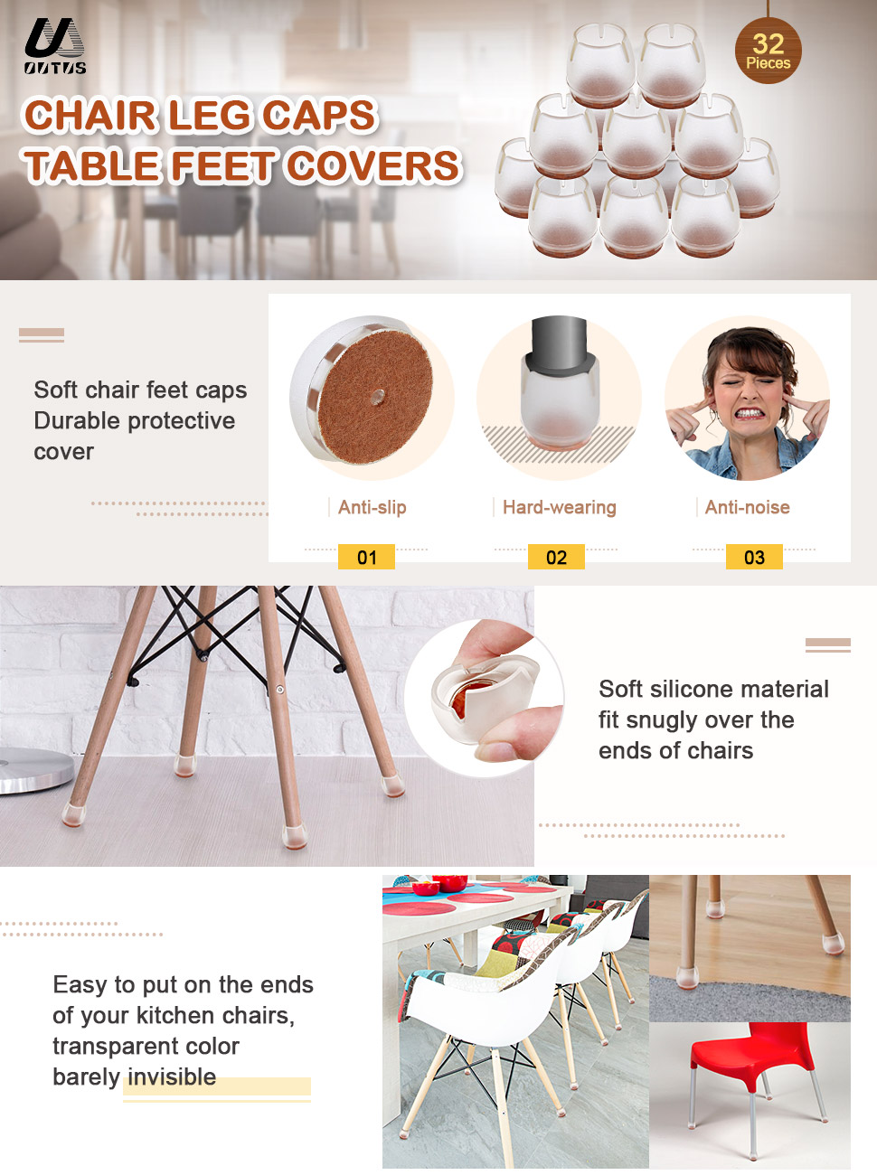 Amazon Com Outus Chair Leg Caps Silicone Floor Protector