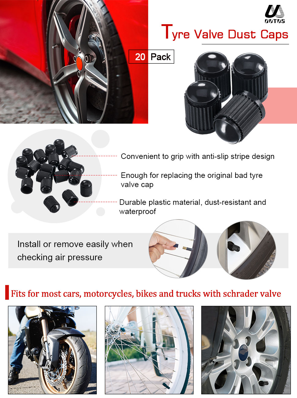 kesoto Motorcycles Bicycles Car Van Valve Cap Dust Caps Protectors for Presta Valve