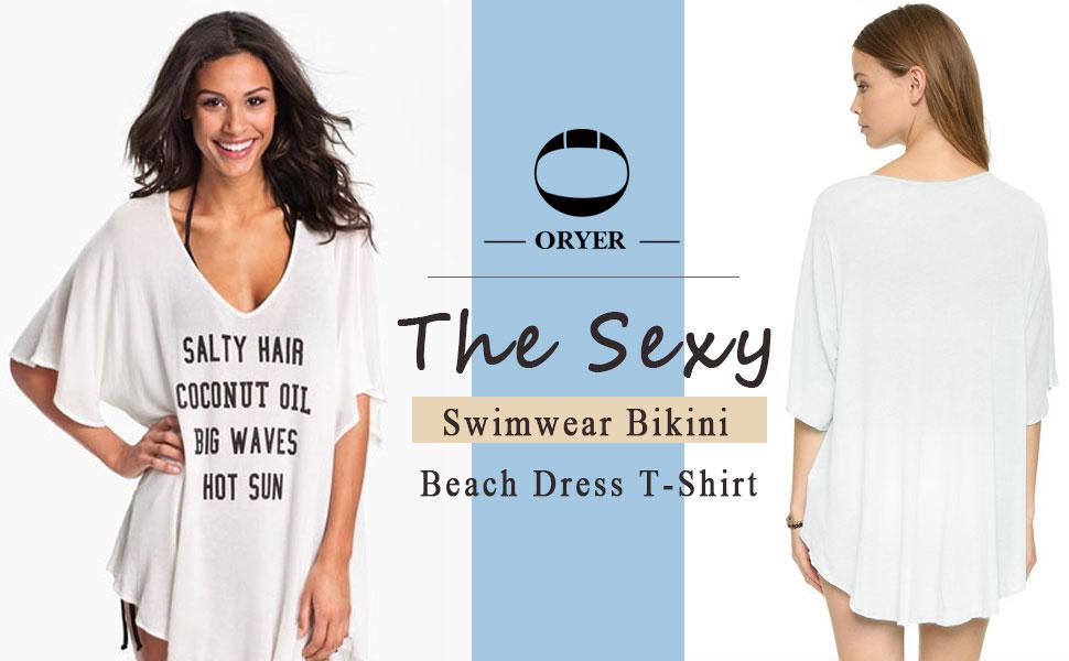 5a1611a38eab4 Oryer Womens Letters Print Baggy Swimwear Bikini Cover up Beach ...