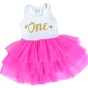 Hot Pink First Birthday One Outfit, Baby Girl one Heart Tutu Dress, Perfect for Babys First Birthday