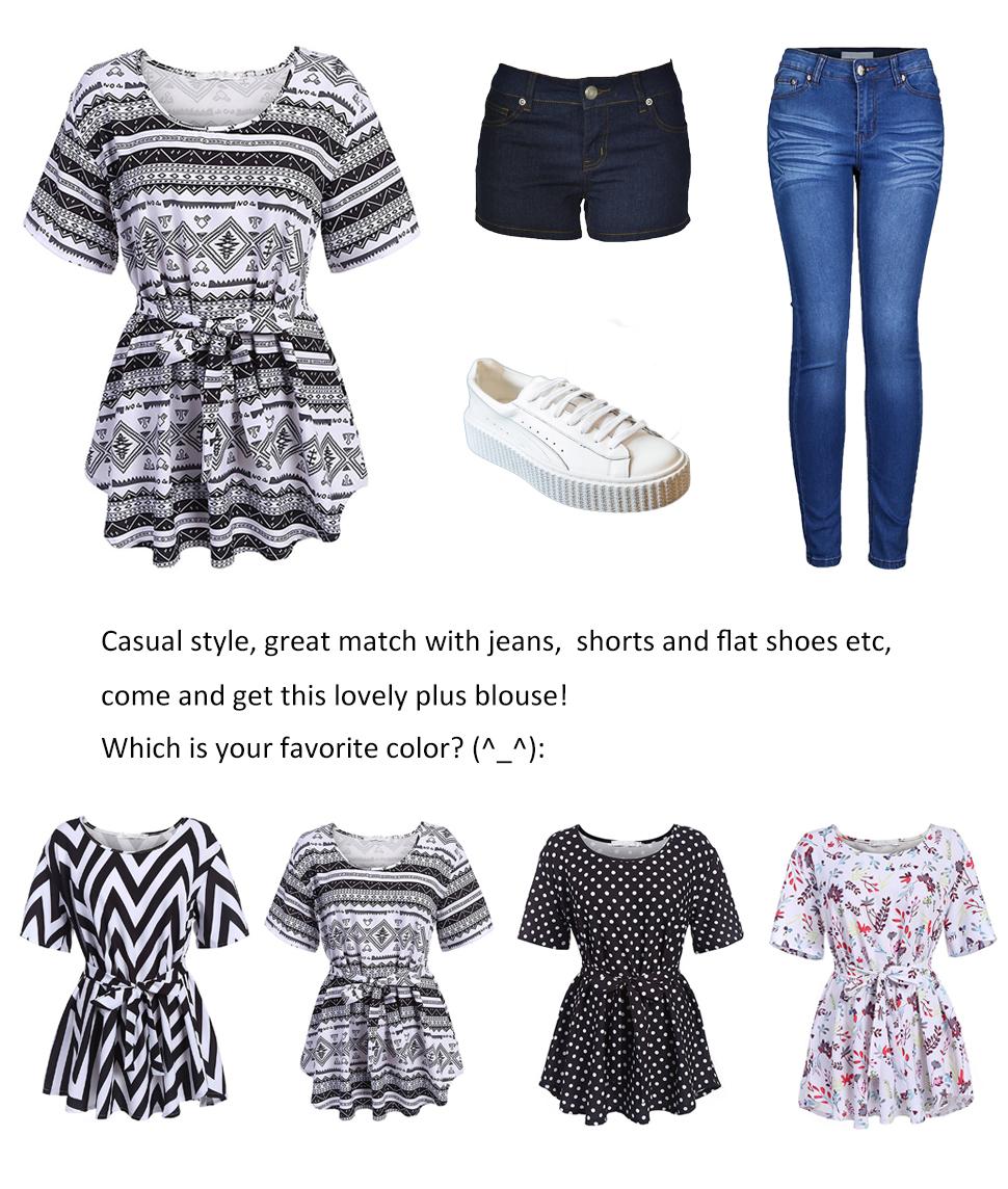 642447dcdb1 Naggoo Clearance Womens Plus Size Shirt Printed Blouse L-5XL Tunic ...