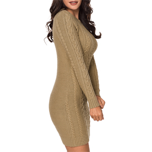 5a78f4272f5 Crew Neck  Long Sleeve. Bodycon  Slim Fit. Above Knee Length  Cable Knit