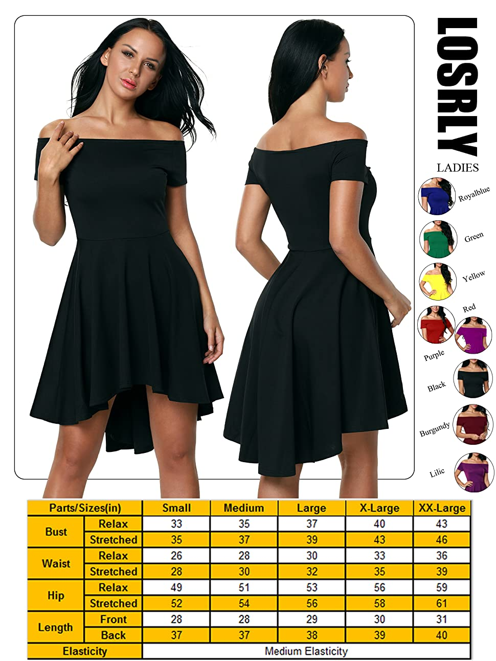 e73639ba265 LOSRLY Womens Off The Shoulder Skater High low Homecoming Party Cocktail  Dress