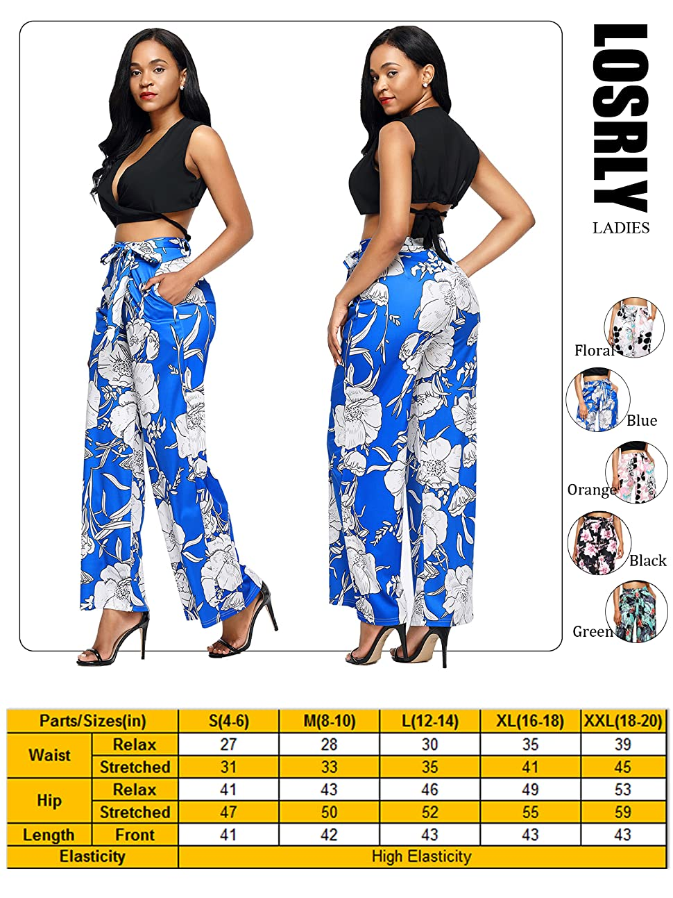 9bad05469f7780 LOSRLY Brand Offer Fashion Pants for Customers to Have an Excellent Clothing  Trip! Features: Back zipper with belt. Floral printed. High waist