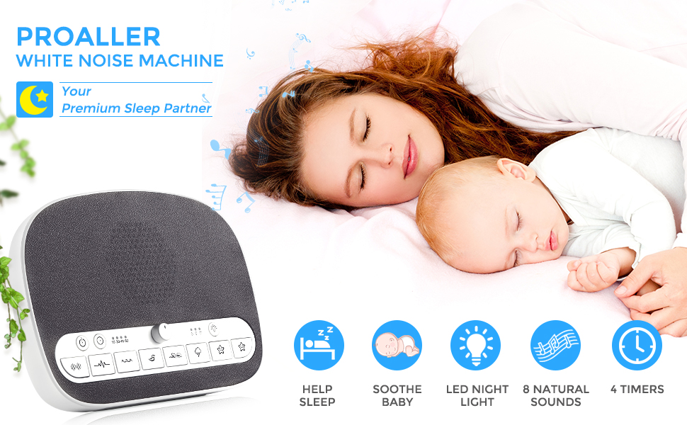 Sound Machine Sleep Therapy, White Noise Machine with Night