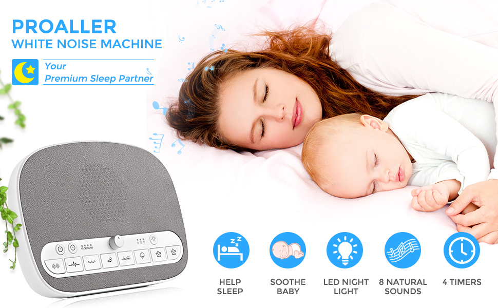 White Noise Machine, Sleep Sound Machine - Night Light - 8 Soothing Natural  Sounds for Sleep Therapy,