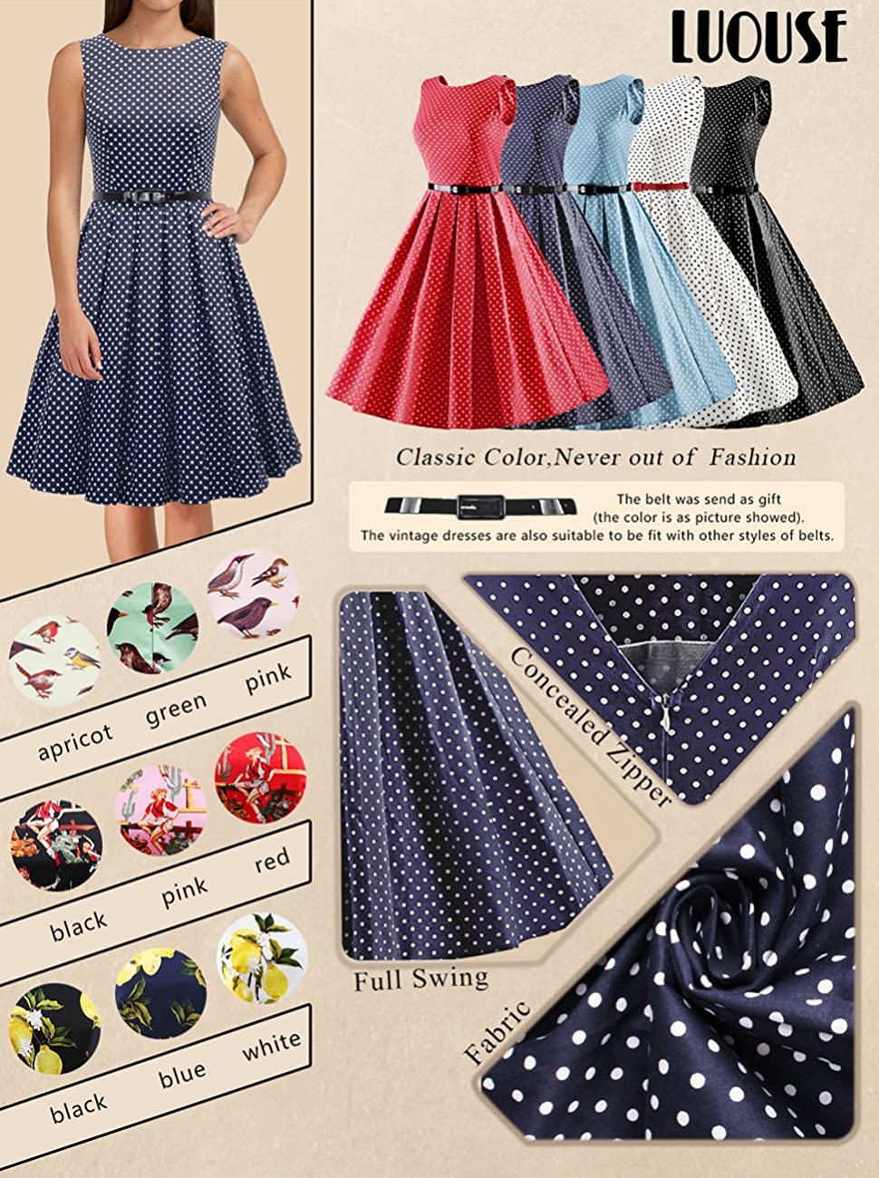 LUOUSE  Womens 1950s Vintage Rockabilly Swing Dress