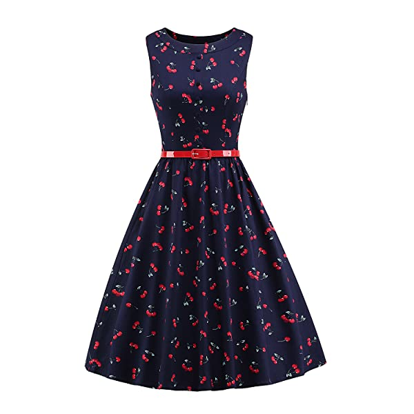LUOUSE Womens BoatNeck Sleeveless Summer Vintage Pleated Dress with Belt